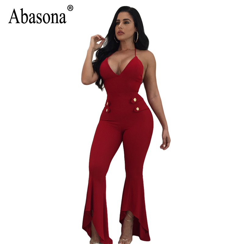 Abasona Evening Party Jumpsuits Women Flare Pants Sexy Deep v Neck Women Overalls Club Jumpsuit Buttons Design Ruffles Jumpsuits