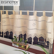 Embroidery Cutout Type Cafe Short Panel Curtain Kitchen Small Window Valance Nature Cotton Linen Fabric Rustic Panel Drape