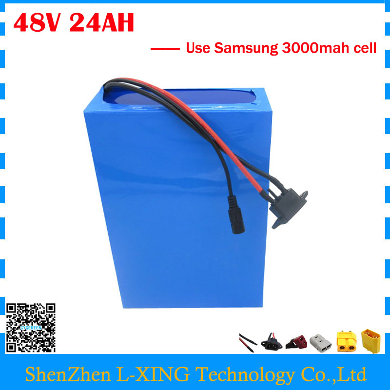 Free customs duty 1000W 48V battery pack 48V 24AH lithium battery 48V ebike battery with 30A BMS use Samsung 3000mah cell free customs taxes high quality skyy 48 volt li ion battery pack with charger and bms for 48v 15ah lithium battery pack