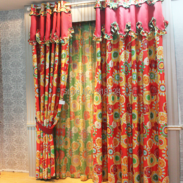 Free Processing As The Picture Size1527m Blackout Curtains Sheer Red