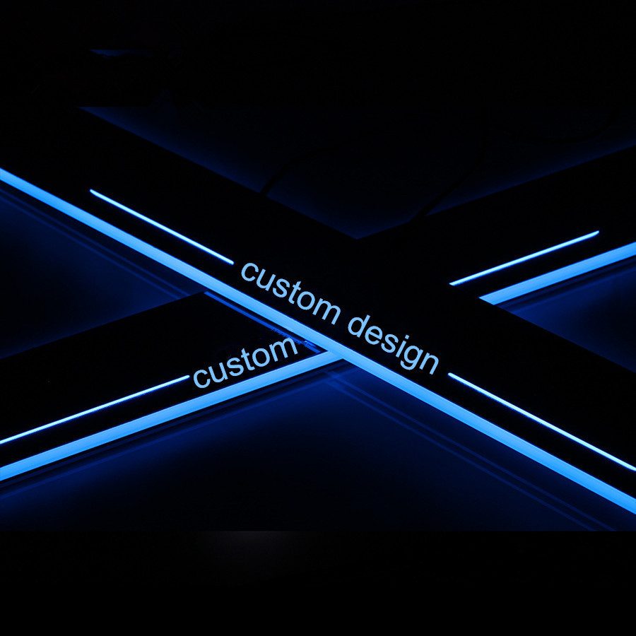 Livraison gratuite!! LED dynamique mobile porte seuil plaque entrée éraflure couverture moulure de garnissage protecteur superposition autocollant pour Toyota Camry 201
