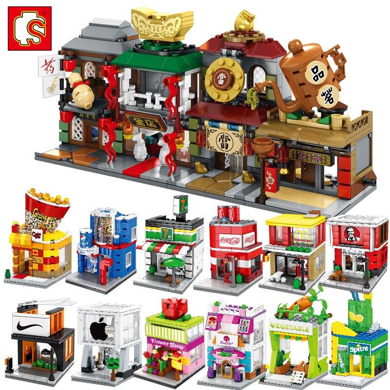 SemBo enfants jouets pour enfants 3D modèle Kits de construction blocs Architecture boutique Mini rue magasin ensembles briques cadeau