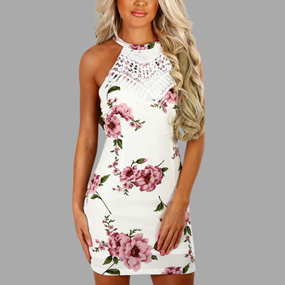Summer Women dress Sexy Floral Sleeveless halter Bodycon Short Mini Dress Party Clubwear vestidos