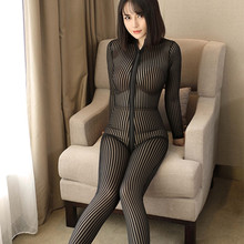 Striped transparent Bodystocking for Women Hot Erotic lingerie bodysuit Open Crotch Double Zipper Sexy crotchless fetish catsuit women sexy open crotch bodysuit sheer lingerie double zipper fetish catsuit body transparent bodystocking sexy hot erotic suit
