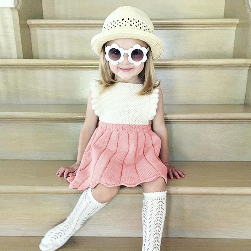 Baby Girl Dress Cotton Blend 2018 New Baby Girls Toddler Princess Knit Sleeveless Infant Party Wedding Sundress Newborn Dress