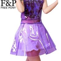 Harajuku הולוגרפית Vinly PVC ברור כולל פלסטיק נלהבת פסטיבל תלבושות בגדים ללבוש שמלת קיץ Festish לראות דרך שמלות