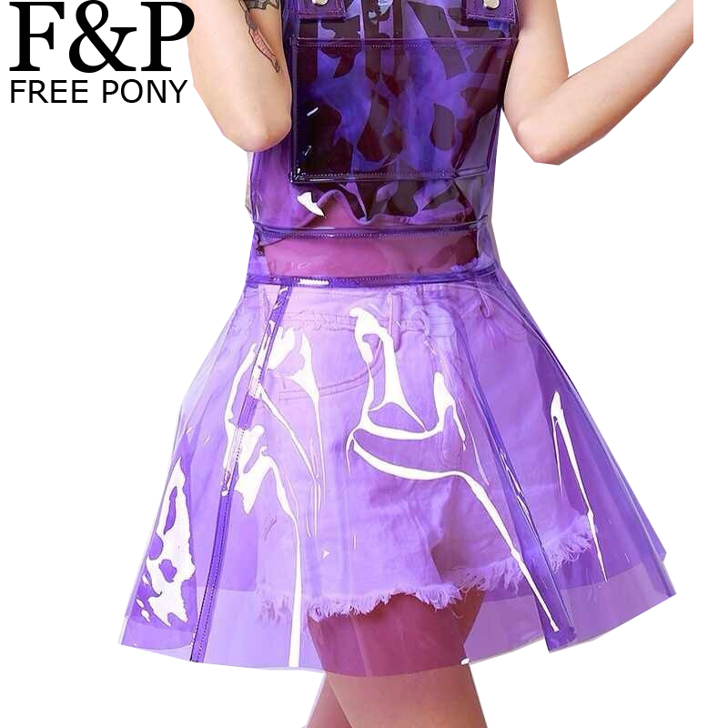 Harajuku Holographic Clear PVC Vinly Plastic Overall Dress Summer Festival Rave Clothes Wear Outfits Festish See Through Dresses