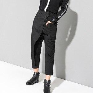Image 2 - [EAM] ربيع جديد 2020 أسود فضفاض عالية الخصر شقة مرونة الخصر النساء الموضة المد واسعة الساق الكاحل طول السراويل OA870