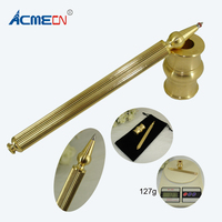 ACMECN Cool Writing Instrument 127g Brass Ball Pen with base set Novelty thread Design for Business Stationery Desk Decoration