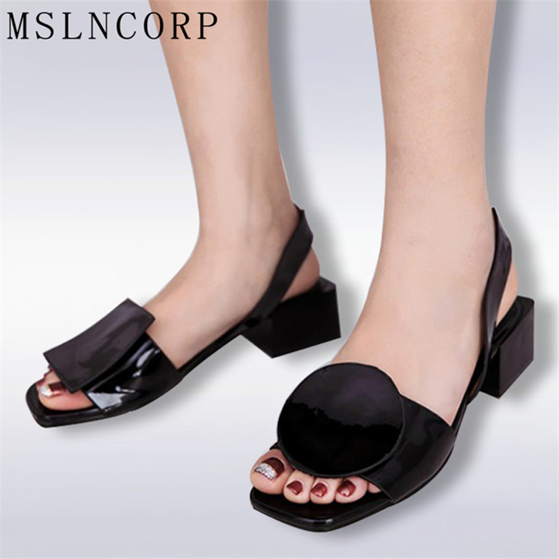 Plus Size 34-43 New summer square heels women sandals ladies white and black open toe Rome beach shoes Fashion Casual sandals new 2017 spring summer women shoes pointed toe high quality brand fashion womens flats ladies plus size 41 sweet flock t179