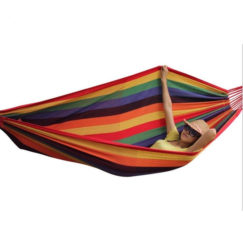 Купить с кэшбэком High Strength Portable Sleeping Hammock Backpacking Hiking Woven Cotton Fabric Tender Green Striped Camping Furniture