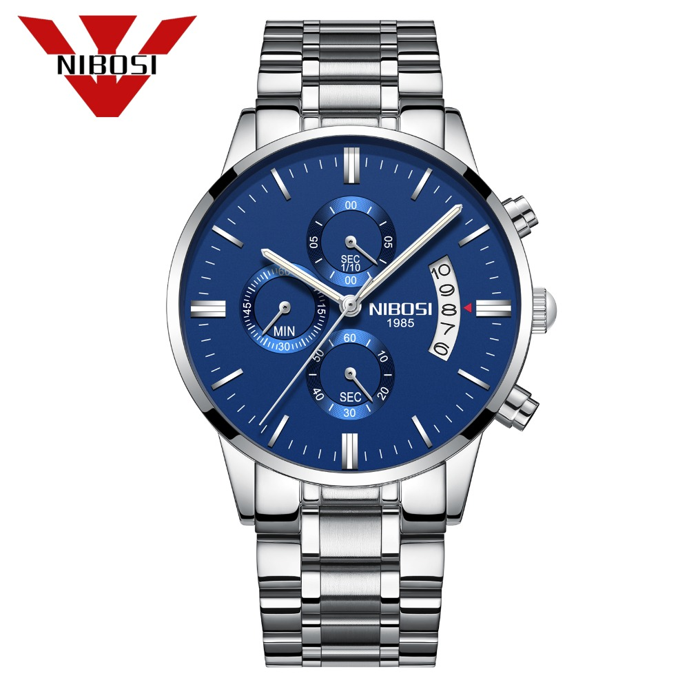 NIBOSI Luxury Watch Men WristWatch Sport Waterproof Clock Fashion Relogio Masculino Silver Blue Quartz Watch Wristwatches Saat