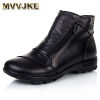 MVVJKE Winter Snow Boots Women Genuine Leather Flat Ankle Boots 2017 New Women Shoes Woman Casual Warm Shoes Women Boots