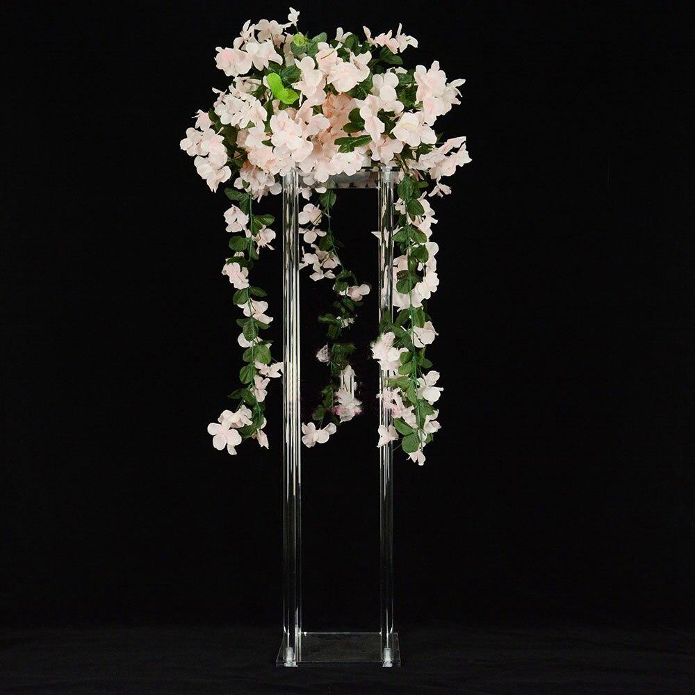 Mariage cristal fleur stand allée route mène table pièce maîtresse acrylique transparent mariage décoration 80 cm de haut