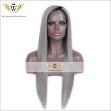 7A Straight Glueless Lace Front Wigs Ombre Gray Lace Wig Brazilian Virgin Hair Full Lace Human Hair Wigs For Black Women