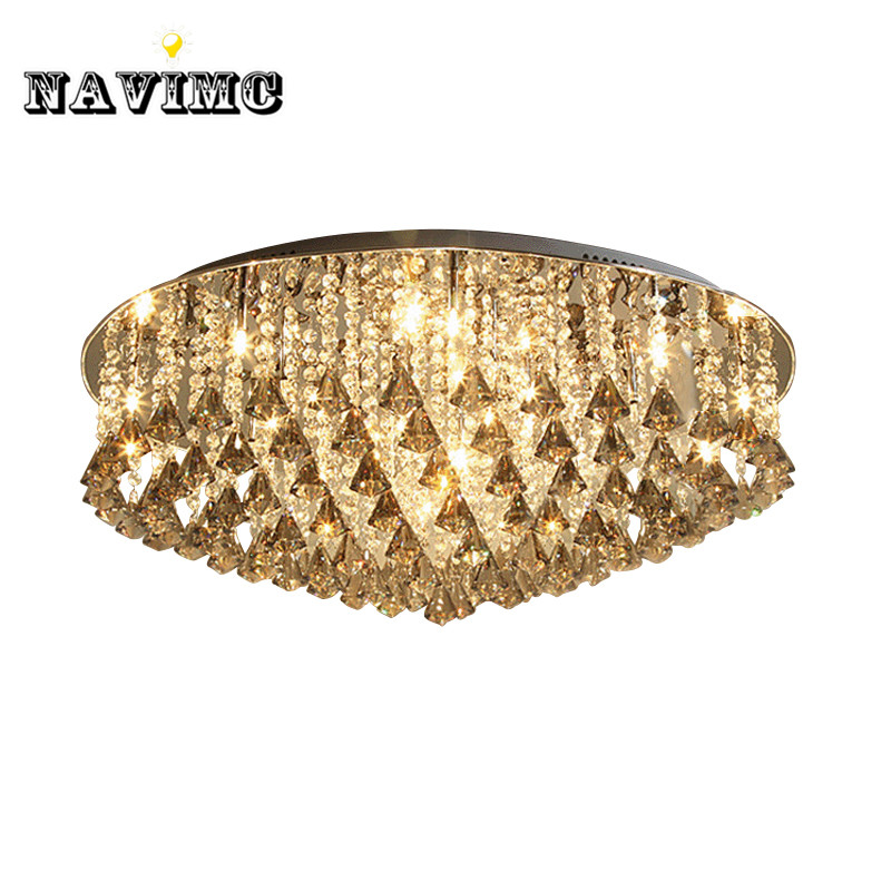 Luxury cognac Diamond Crystal led ceiling light modern led lamps and lanterns bedroom living room Hotel Ceiling Lamp