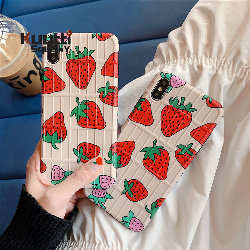 Kuutti Squishy Cute Koarean Strawberry 3D Lugguage Stripped Phone Cases for iPhone 6 6s 7 8 Plus X XR XS Max Cover for iphone 6s
