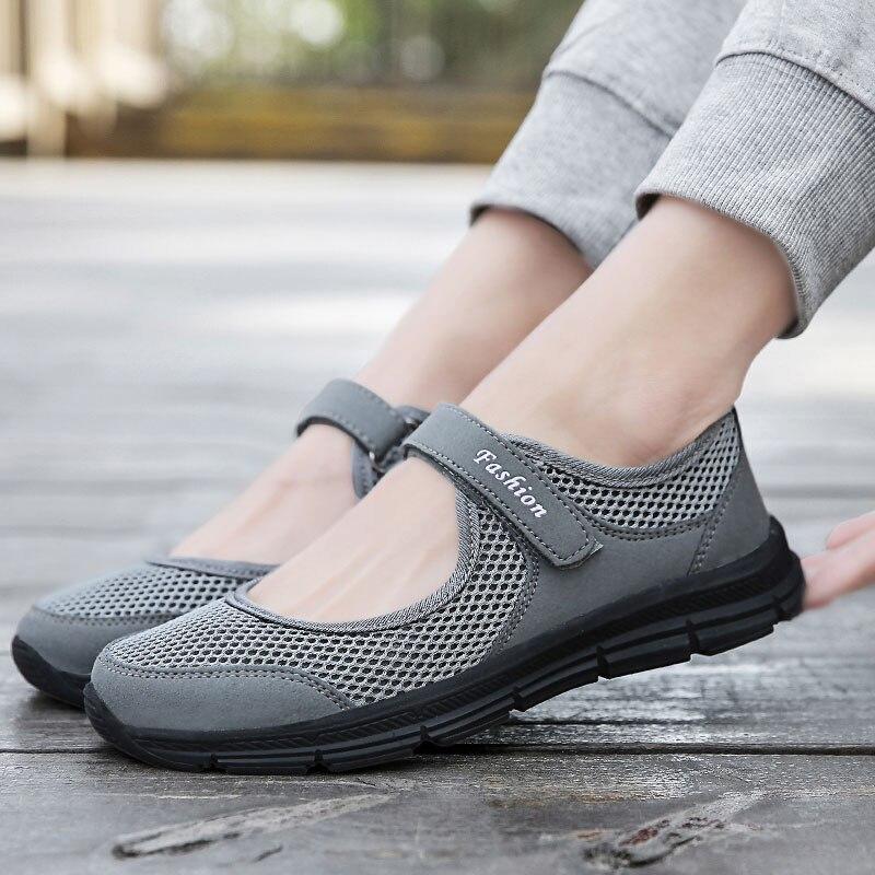 MWY verano primavera señoras zapatos casuales mujeres Zapatillas Zapatos planos Chaussure zapatos de malla transpirable diseñador de marca ligera