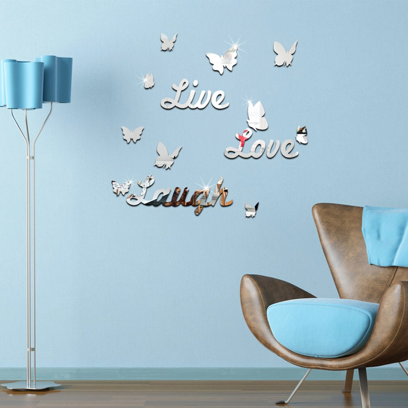 top sale acrylic mirror sticker home decoration modern style furniture living room 3d stickers butterfly pattern