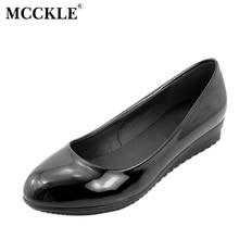 Mcckle/модные женские большие размеры обувь женский, черный на плоской подошве Лоферы Повседневные Удобные с открытым носком рабочая обувь Брендовая женская обувь