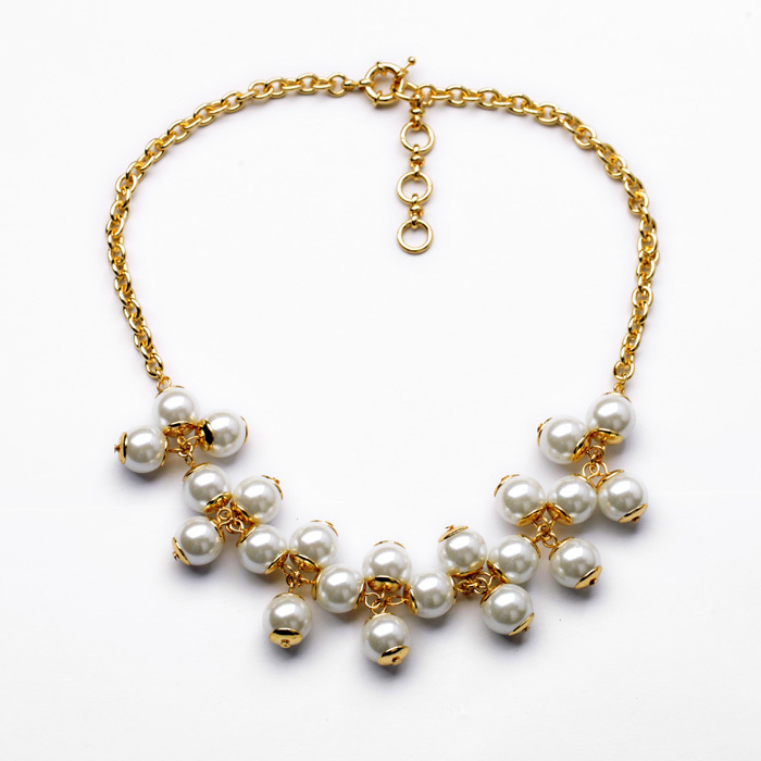 Dress Accessory Glass Zinc Alloy 2014 New Arrival Simulated Pearl Necklace Elegant Noble Clavicle Necklace