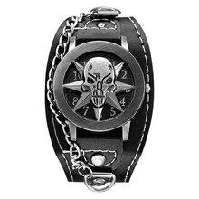 Top Luxury Brand Leather Fashion Bracelet Quartz Watch Skull Cool Men Women Wrist Watch Wristwatches Clock Hour 1201704077
