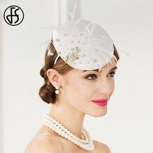 6b0f0f2ad0f71 FS White Hat Fascinator Cocktail Wedding Women Derby Hats With Rhinestone Feather  Pillbox Hats Base Ladies Formal Church Fedora