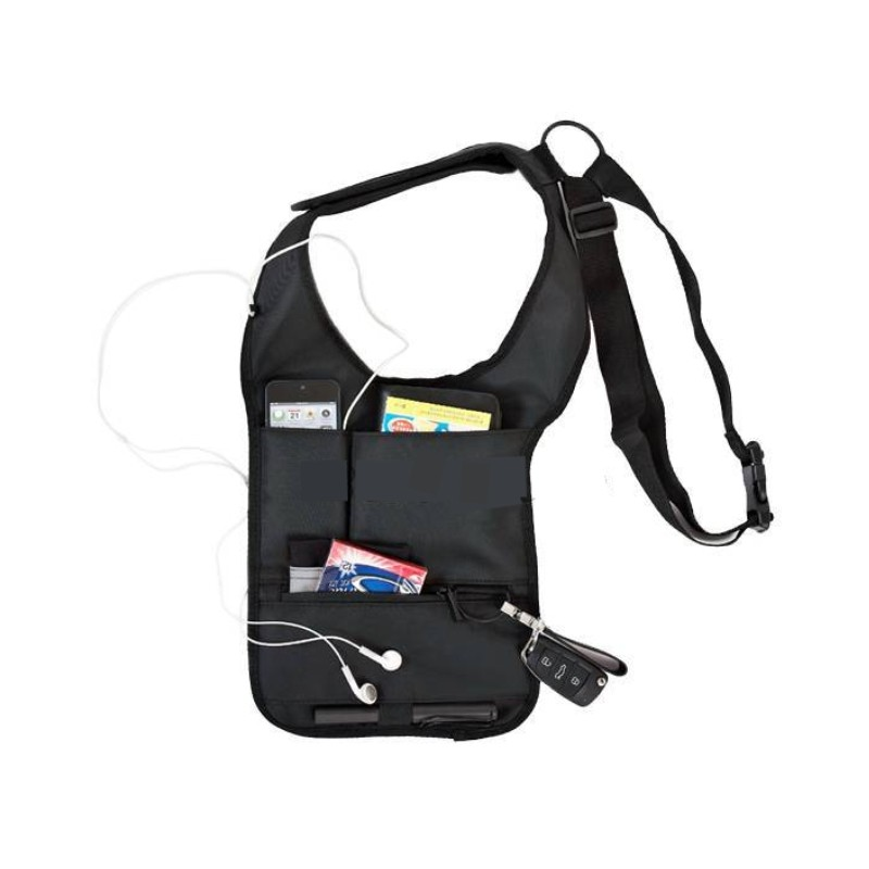 Multifunction Men Travel Anti Theft Hidden Underarm Shoulder Bag Black Nylon Pocket Mp3 Mobile Phone Storage Organizer