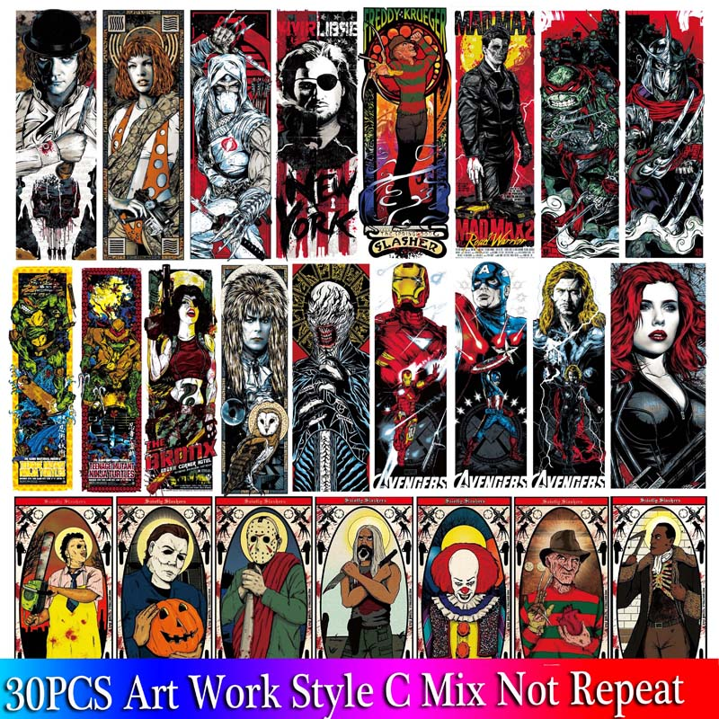 30PCS Mixed Pack Horror Skeleton Stickers Set Graffiti Dark Cool Stickers For Kids Luggage Skateboard Laptop Punk Stickers