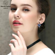 WARME FARBEN 925 Sterling Sliver Women Earrings Crystal From Swarovski Fine Jewelry Drop Earrings Triangle Dangle Earring Brinco