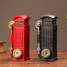 Antique Resin Telephone Booth Ornament Crafts Handicrafts Furnishing Articles Home Decoration Photography Props Originality Gift