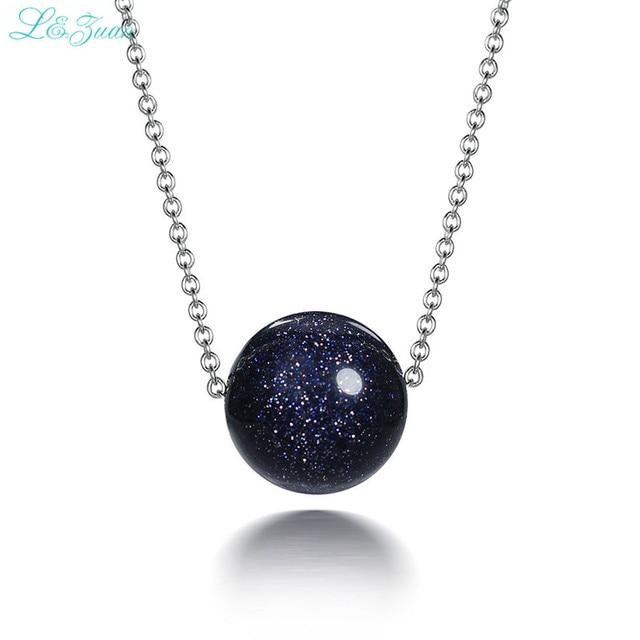 I&zuan S925 Silver Womens Pendants Trendest Fine Jewelry Dark Round Blue Starry