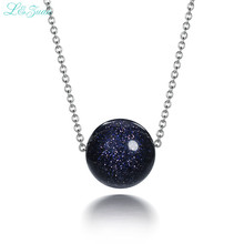 I&zuan S925 Silver Womens Pendants Trendest Fine Jewelry Dark Round Blue Starry sky Bead Party Clavicular Necklace