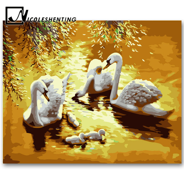 Swan Bird Oil Painting on Canvas Handmade Landscape DIY Painting by ...
