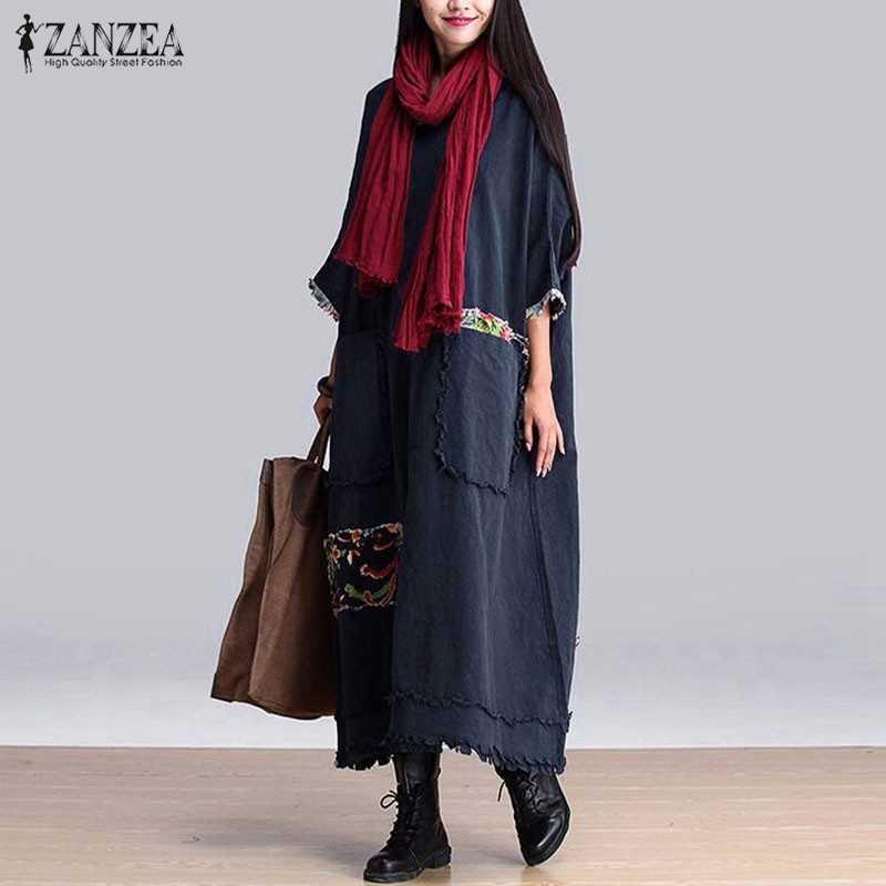 0083435d632 ZANZEA женское винтажное элегантное платье 2016 Осень с круглым вырезом 3 4  рукав карманы Сращивание