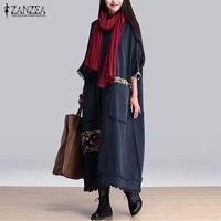 ZANZEA Women Vintage Elegant Dress 2016 Autumn O Neck 3 4 Sleeve Pockets Splice Casual Loose
