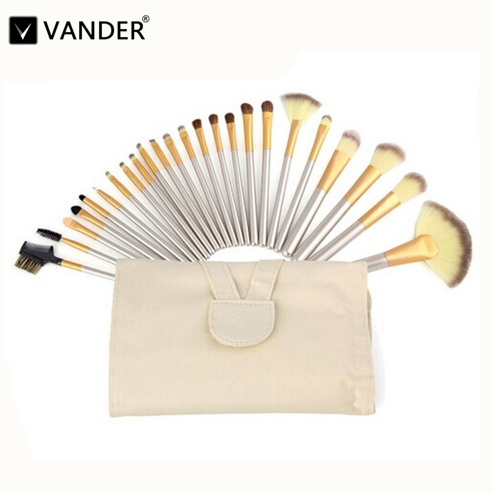 VANDER Professional Makeup Brushing Brush Set 24pcs Champagne Soft Synthetic Cosmetic Foundation Powder Blush Eyeliner Brushes 7pcs makeup brushes professional fashion mermaid makeup brush synthetic hair eyebrow eyeliner blush cosmetic