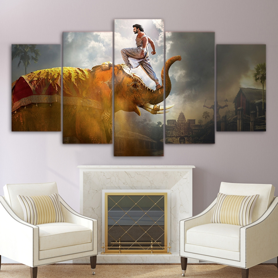 Pictures on canvas modern 5 pieces india elephant hd - Wall pictures for living room india ...