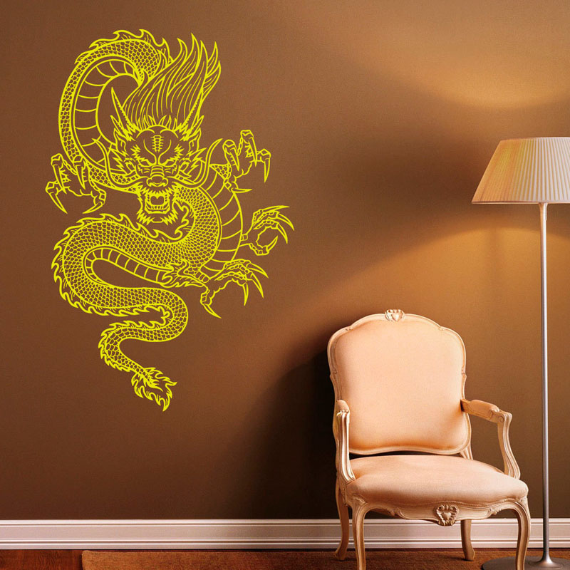 Chinese Style Dragon Wall Stickers Vinyl Decal Waterproof Art Wall ...