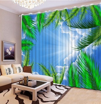 customize 3d luxury curtains Blue sky sunshine scenery 3d photo curtains in the living room blackout curtains