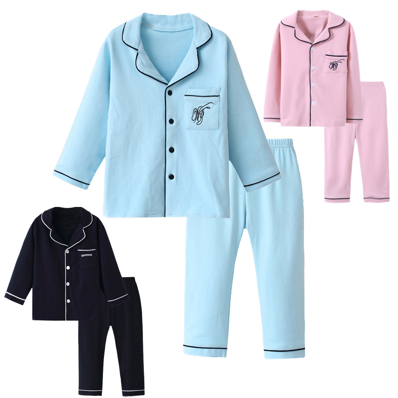 2018 Children Cotton Pajamas Set Boys Girls Cardigan Turn-down Collar Solid Color Clothing Kids Air Conditioning Suit Homewears slim fit turn down collar colored plaid lining solid color shirt for men