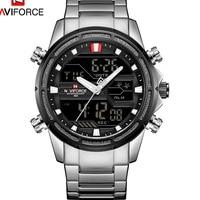 Naviforce man Watch 9138 3BAR LED Steel Stainless Quartz Analog Digital Military mens watches Steel Sport Male Clock relogios