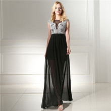 Elegant Black Evening Dress Illusion Neck Sleeveless Formal