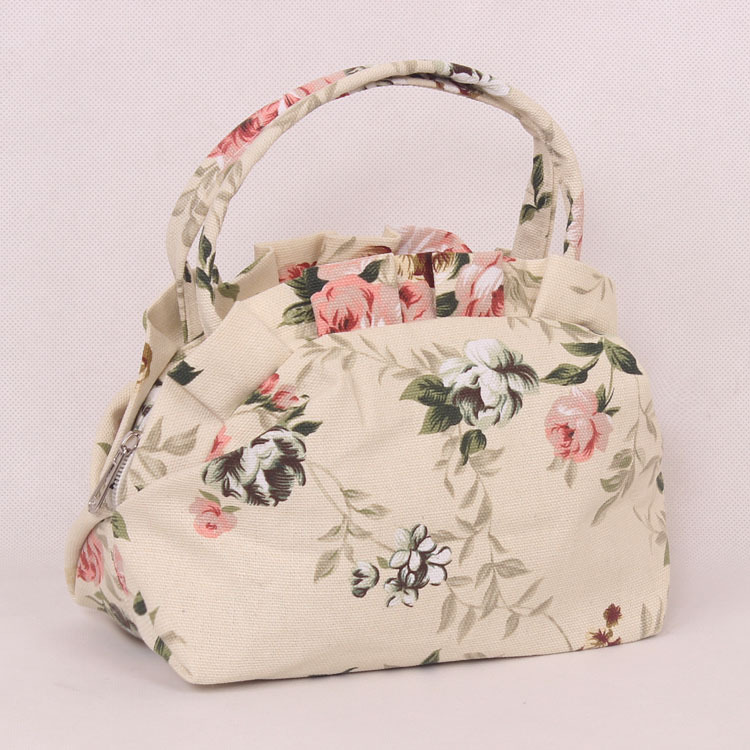 New Arrival Lovely Floral pattern Top-Handle Bags Women Canvas Handbag Small Leopard Ladies Bags Fashion High Quality Totes Bag