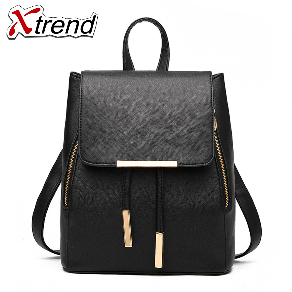 High Quality PU Leather Backpacks for Teenage Girls Female School Shoulder Bag Pack Mochila 2018 Fashion