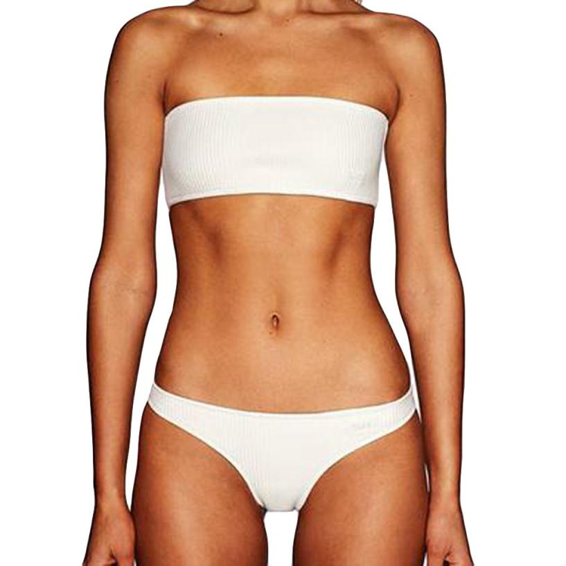 Womail 2018 Women 2pcs Off Shoulder Bra Beach Set Swimsuit Swimwear drop shipping