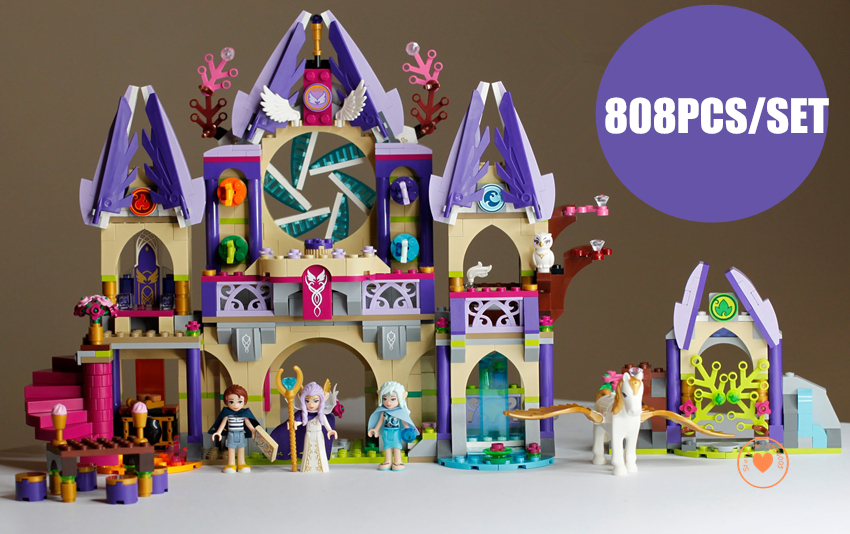 New Skyra's Mysterious Sky Castle fit legoings fairy Elves figures friends model Building Blocks Fairy Tale Girls toy gift kid 2018 new girl friends fairy elves dragon building blocks kit brick toys compatible legoes kid gift fairy elves girls birthday