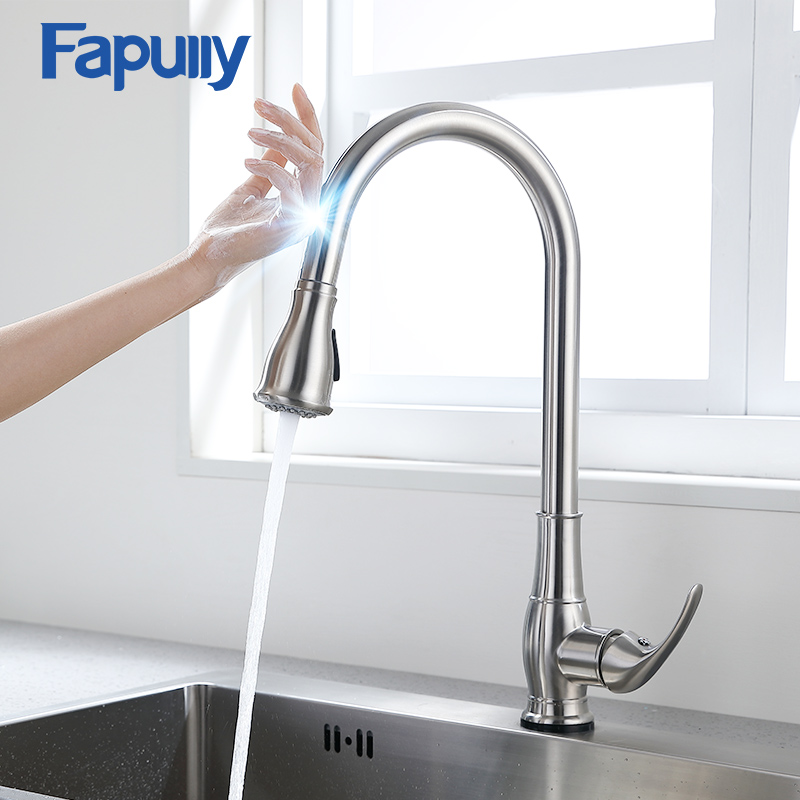 Fapully Smart Touch Control Kitchen Faucet Brushed Black Sensitive Mixer Touch Induction Faucet Pull Down Sink Tap Crane CP1051Fapully Smart Touch Control Kitchen Faucet Brushed Black Sensitive Mixer Touch Induction Faucet Pull Down Sink Tap Crane CP1051