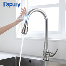 Fapully Smart Touch Control Kitchen Faucet Brushed Black Sensitive Mixer Induction Pull Down Sink Tap Crane CP1051