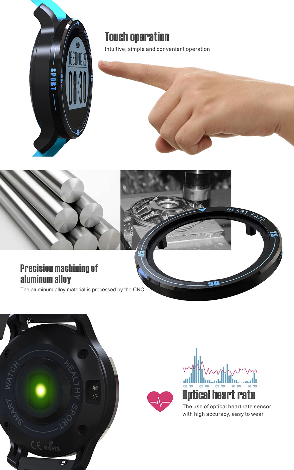 MAKIBES AEROBIC A1 SMART SPORTS WATCH BLUETOOTH DYNAMIC HEART RATE MONITOR SMARTWATCH S200 231407 20